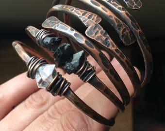 Copper Bangle Bracelets /  Raw Gemstone Bracelets Healing Crystal Jewelry Daniellerosebean Copper Bracelets Black Friday Cyber Monday