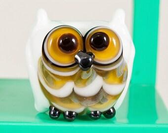 White Topaz Owl Lampwork Bead