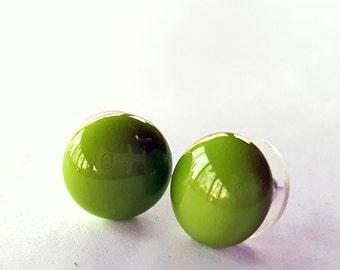 Avacado Earrings, Light Green Earrings, Fused Glass Jewelry, Sterling Silver Post, Green Stud Earrings, Handmade in USA, Olive Green