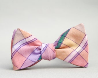 peach & lilac self tie plaid bow tie // mens freestyle bow tie  //  pastel plaid bow tie