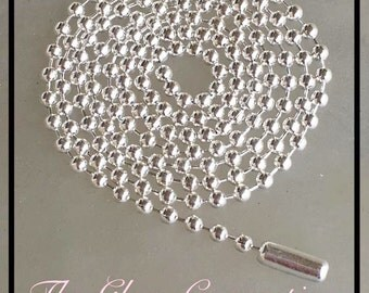100 Shiny Stunning Silver Plated Ball Chains 24 inches Necklaces Jewelry Supplies