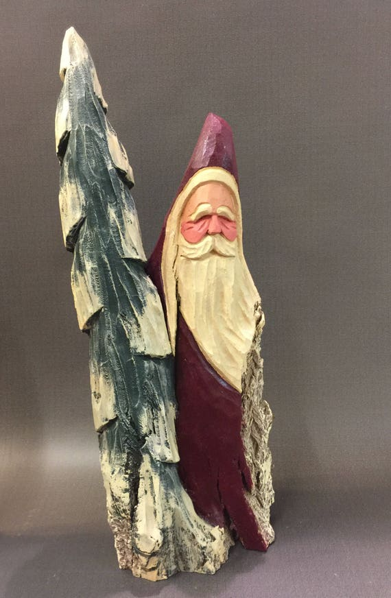 HAND CARVED original large Santa with tree from 100 year old Cottonwood Bark.