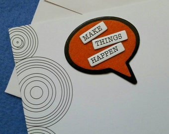 Make Things Happen handmade trifold greeting card with geometric concentric circles