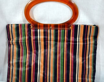 Vintage Shopping Tote Bag by Fertig Industries -Folds in half - New With Tags - Lucite Handles - Tote-All Bag