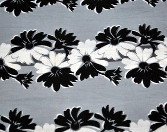 Vintage Flowered Fabric - Black and White flowers on Grey Background