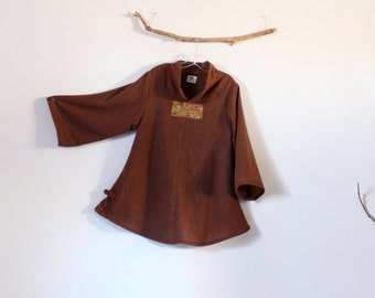 ready to wear brown  wool asian blouse with kimono silk panel size M