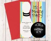 Bowling Birthday Party Invitation, Printable Invitation, Kids Birthday Invitation, Custom Wording, JPEG File