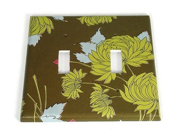 Light Switch Cover Wall Decor Double Switchplate  Switch Plate in  Chrysanthemum Olive  (309D)