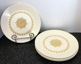 Vintage Sheffield Serenade Dinner Plates Set of 4 Gold and Cream