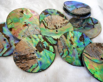 Large VINTAGE Sew Thru Iridescent Natural Abalone Shell BUTTON