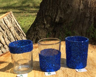 12 Glitter Votive Candle Holders Sapphire Blue Ocean Mermaid Beach Wedding Party Favors Table Decoration Centerpiece Reception Tealight