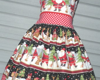 Ready to Ship Custom Boutique Christmas Santa Red Dot  Girl  Dress Size 8