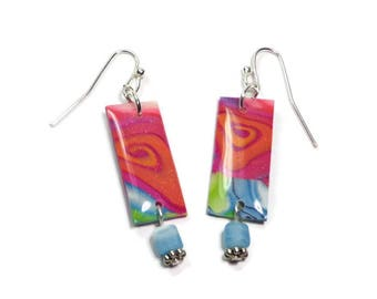Bohemian Multicolor Earrings- polymer clay jewelry- Resin earrings- Aqua Crystal Earrings- Ready to Ship- Gifts for Her Birthday