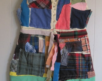 Recycled Materials Peasant Wear Ragamuffin wool scraps Vest Tunic Crazy Quilt Patchwork  - myBonny random altered upcycled fabrics