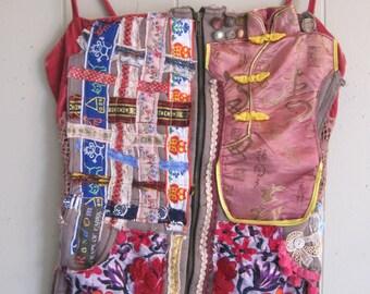 Patchwork Collage Couture - VELVET PEASANT CORSET - Wearable Folk Art  - Crazy Quilt Vintage Linens - Ethnic Fabric Scraps - Sz S - my bonny