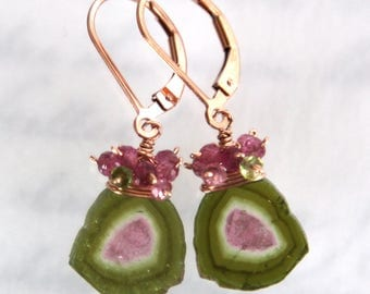 Watermelon Tourmaline Earrings, Tourmaline Slice Earrings, Brazil Tourmaline - Rose Gold Filled