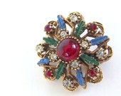 Vintage Rhinestone Brooch, Red, Blue, Green Leaves Starry Jewelry