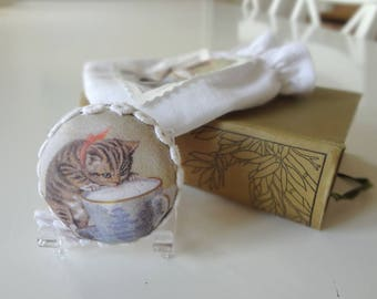 Tape Measure Kitten Sipping Tea from a Teacup Illustration Handmade Retractable Printed Fabric Antique Graphic - EnglishPreserves
