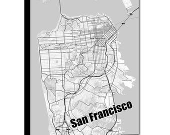 SAN FRANCISCO Map Canvas, Black and White San Francisco Wall Decor