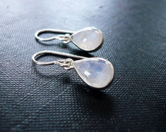 Teardrop Moonstone Earrings in Sterling Silver - Rainbow Moonstone and Silver Drop Teardrop Earrings, Moonstone Earrings