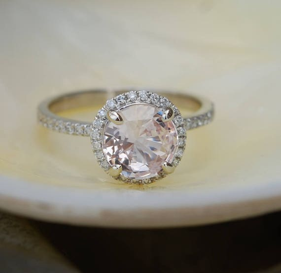 Peach sapphire engagement ring. White gold engagement ring. Diamond halo ring. 1.95ct round peach sapphire ring by Eidelprecious.
