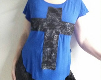 Cross tshirt cross shirt BLUE with lace cross handmade unique top size medium FREE SHIPPING