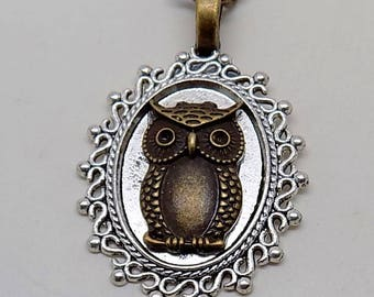 Steampunk owl pendant necklace. Steampunk jewelry.
