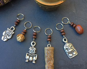 Tiki Tradition: Set of 6 Polynesian Inspired Tiki Talisman Stitch Markers for Knitters and Crocheters