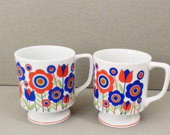 60's retro COFFEE CUPS // flower power // red white and blue floral // white china pedestal mugs