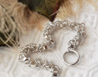 One of a Kind Sterling Silver Chainmaille Toggle Bracelet