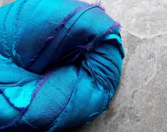 Recycled Sari Ribbon, Striped Ribbon, Silk Sari Ribbon, Reclaimed, Turquoise Ribbon, Purple Ribbon, Vibrant Turquoise, Boho Ribbon, 4 Yards