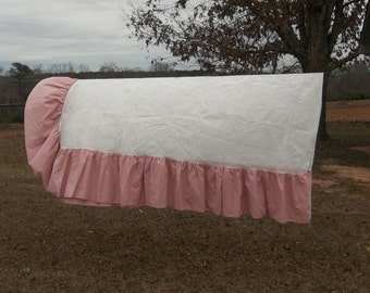 Vintage Ruffled Bed Skirt Pink Bed Skirt Full Size Dust Ruffle Pink Bedding French Country Farmhouse Ruffled Bedding Double Bed Pink Ruffles
