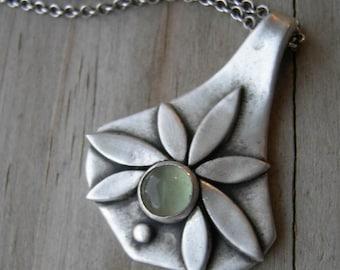 Pietas Goddess Pendant Green Fluorite PMC Artisan Jewelry Necklace