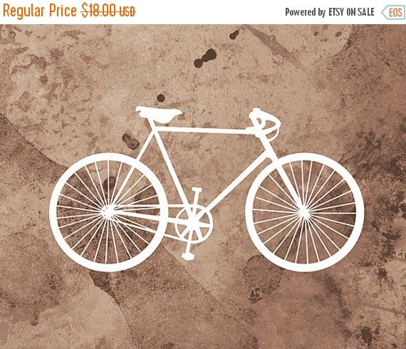 50% Off - Black Friday Bicycle Art Print - (brown and white) - 8x10 Print - Home Decor