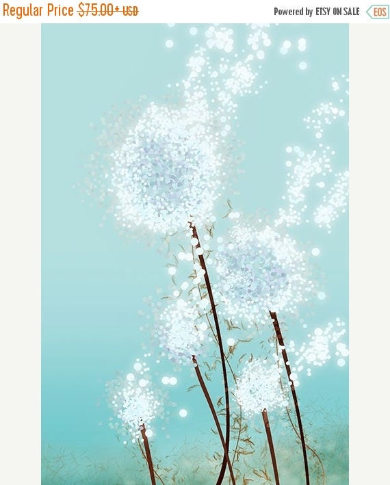 Mothers Day Sale Dandelion Art - Perennial Moment (aqua) - 24x36 LARGE Print - Blue Floral Art