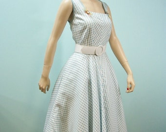 1950s 1960s Sun Dress . Vintage Blue Checked Dress with Raffia Floral Decorations . Full skirt Sun Dress . M L