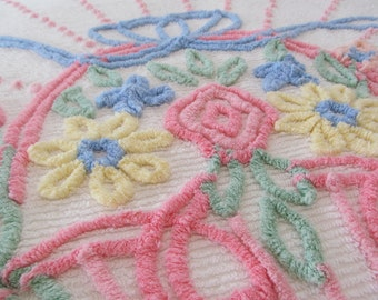 Vintage Chenille Bedspread Pink Floral on White -  Full Queen 90 x 100 - Shabby Cottage