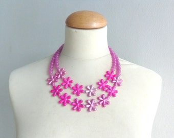 Hot pink necklace, hot pink statement necklace, pink flower necklace