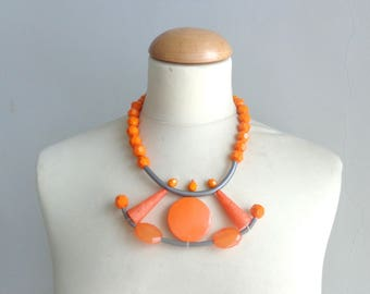 Orange necklace, orange statement necklace, orange rubber necklace, geometric bib necklace