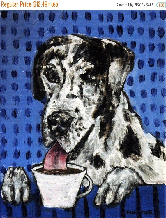 30% off Great Dane at the Coffee Shop Cafe Dog Art Print  Picture