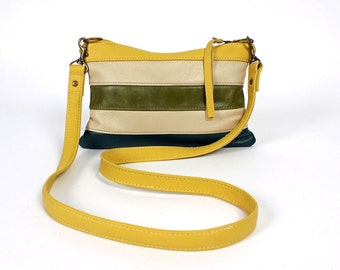 Roxy Cross Body Purse in Yellow, Green and Blue Leather Grey Handbag