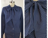 70s Lee Mar Navy Blue Polka Dot Pussy Bow Secretary Blouse with French Cuffs, XL to 1X, Plus Size