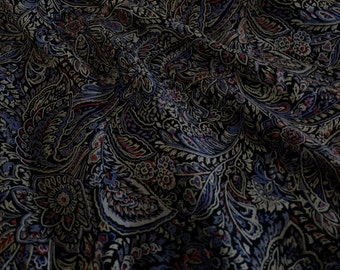Vintage Wool/Rayon Blend Challis Paisley Print in Dark Blue, Red, Gray, and Black
