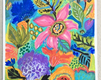 Pink Flower Painting - Blue Flower Painting - Watercolor Flower Painting - Original  Flower Painting - Nursery Flower Painting