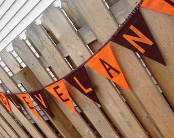 CLEVELAND BROWNS BANNER--Fabric Banner Garland--Cleveland Browns Tailgating--Cleveland Football-Sports Banner--Browns Party--Cleveland Party