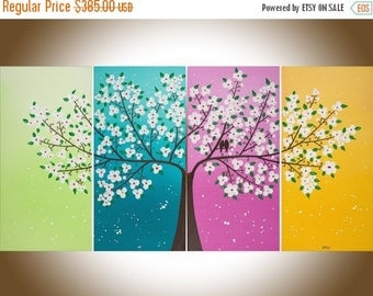 "Colorful art contemporary wall art wall decor white flowers Love Birds paintng canvas art Home office decor "" love story""by qiqigallery"