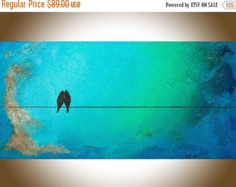 "24"" Birds art abstract birds on a wire turquoise blue green Wall art painting on canvas ""My love is deeper than the sea"" by qiqigallery"