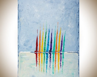 "Sail boat painting 48"" Colourful Abstract painting Original artwork wall art wall decor wall hanging painting on canvas by qiqigallery"