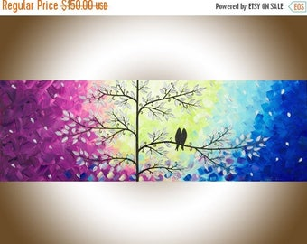 "Blue violet Colourful abstract painting love birds art wall hanging wall art wall decor Impasto acrylic art ""Romantic Love"" by qiqigallery"