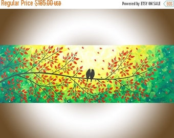 "Love birds art Colorful painting green red yellow wall art wall decor Easter gift home decor   ""Love Is in the Air"" by QIQIGALLERY"